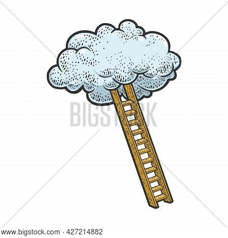 Ladder To Cloud Color Sketch Engraving Vector Illustration. Stairs To Heaven Metaphor. T-shirt Appar