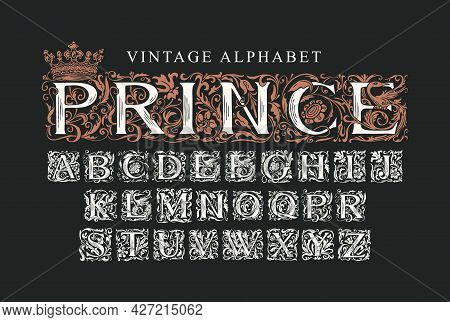 The Word Prince Decorated With Crown. Luxury Design Of Beautiful Ornate Font For Card, Invitation, M