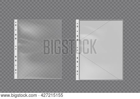 Realistic Plastic Bag For A4 Sheet. Punched Pocket Business File Vector Set.