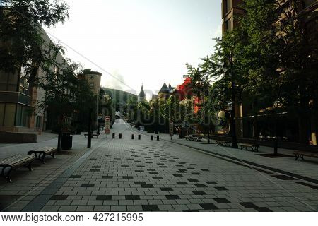 Montreal, Qc, Canada - 7-14-2021: Mctavish Street At Mcgill University On Summer Day After The Ease