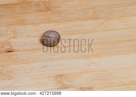 Nutmeg Spices Laid On A Wooden Board.