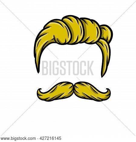 Fashionable Men Haircut. Element Of The Head And Face Hipster. Brown Hair Guy. Long Moustache Of The