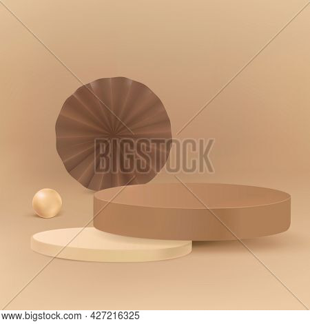 3D modern product backdrop with brown podium