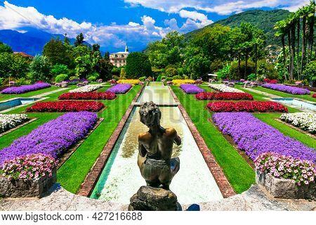 Villa Taranto with beautiful gardens. Picturesque lake Lago Maggiore, North of Italy, Pallanza (Verbania) jul 2018