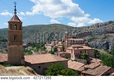 Beautiful Aerial View Of Albarracin, An Ancient Village Of Teruel, Seen From Its Fortress. Tradition