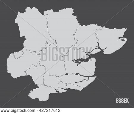 The Essex County Administrative Map Isolated On Dark Background, England