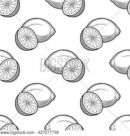 Lemon Vector Seamless Pattern Black And White