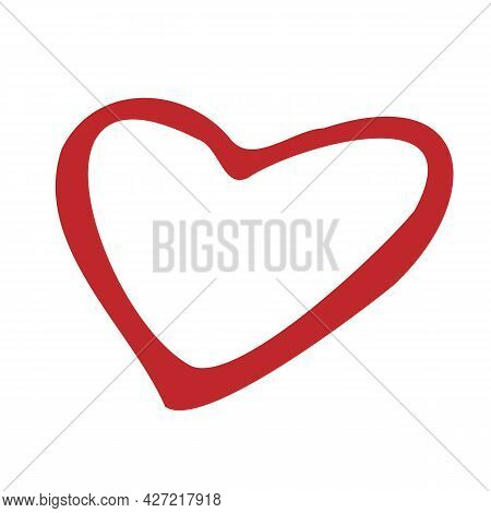 Heart Icon In Doodle Style. A Symbol Of Passion, Love And Fidelity. Vector Illustration In A Flat St