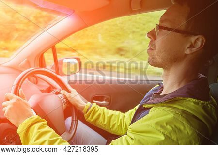 Man Drive Car. Mountain Road View. Responsible Travel Vacation. Staycation Concept. Roadtrip Weekend