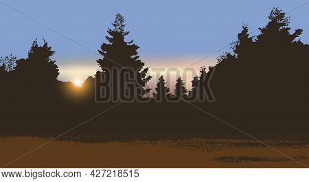 Night Landscape With A Coniferous Forest At Sunset. Vector Illustration