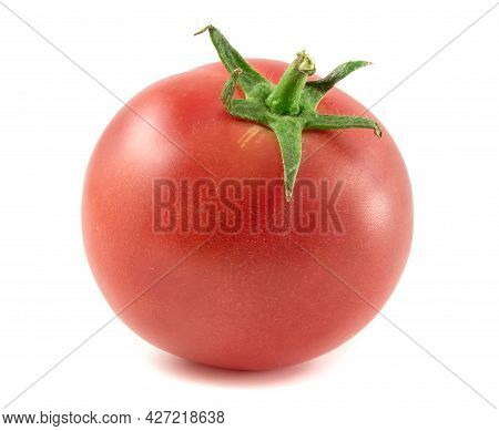 Fresh Red Tomato With Stalk Isolated On White Background.
