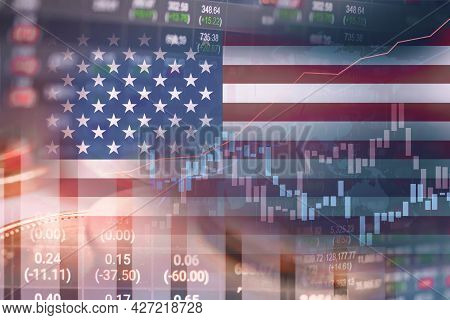 Stock Market Investment Trading Financial, Coin And America Usa Flag Or Forex For Analyze Profit Fin