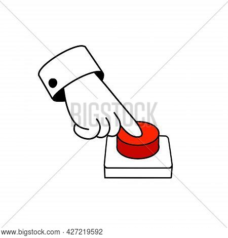 Finger Presses The Red Button. Start And Launching A Startup. Outline Hand. Cartoon Illustration
