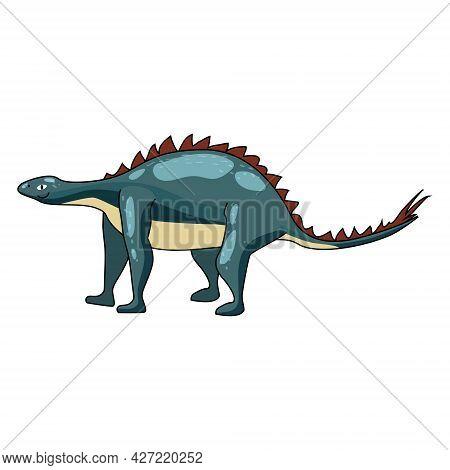 Funny Prehistoric Stegosaurus Dinosaurus. Ancient Wild Monsters Reptiles Cartoon Style. Vector Isola
