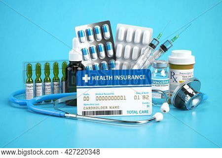 Health insurance card policy with meds and medical equipment on blue background. 3d illustration
