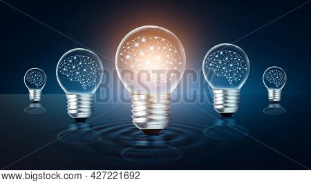 Different Light Bulb Idea Many Bulbs Are Arranged In A Row And One Of Them Is Illuminated. Concept I