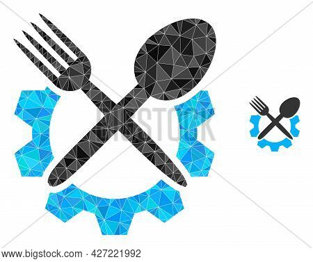 Triangle Food Industry Polygonal Icon Illustration. Food Industry Lowpoly Icon Is Filled With Triang
