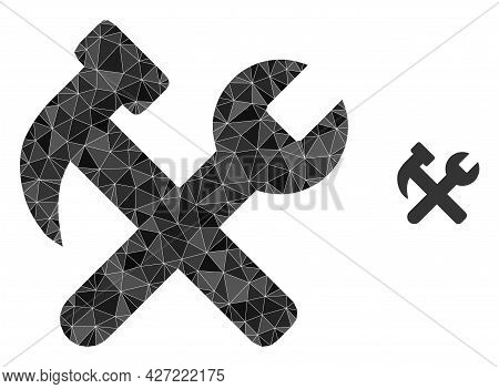 Triangle Hammer And Wrench Polygonal Icon Illustration. Hammer And Wrench Lowpoly Icon Is Filled Wit