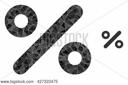 Triangle Percent Polygonal Icon Illustration. Percent Lowpoly Icon Is Filled With Triangles. Flat Fi