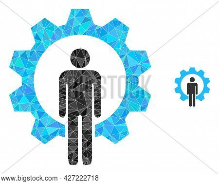 Triangle Human Resources Polygonal Icon Illustration. Human Resources Lowpoly Icon Is Filled With Tr