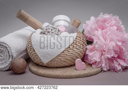 Bathroom Background, Accessories For Face And Body Skin Care, Towels, Massage And Cosmetics, Pink Pe