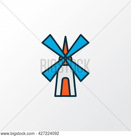 Mill Icon Colored Line Symbol. Premium Quality Isolated Windmill Element In Trendy Style.
