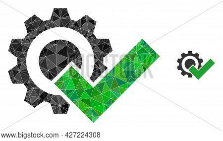 Triangle Valid Gear Polygonal Icon Illustration. Valid Gear Lowpoly Icon Is Filled With Triangles. F