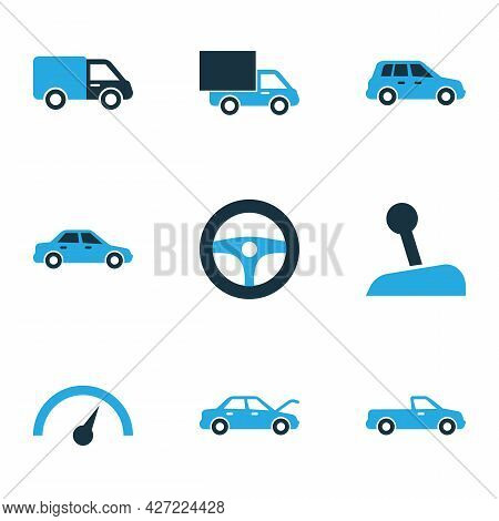 Automobile Icons Colored Set With Car, Chronometer, Carriage And Other Sedan Elements. Isolated Vect
