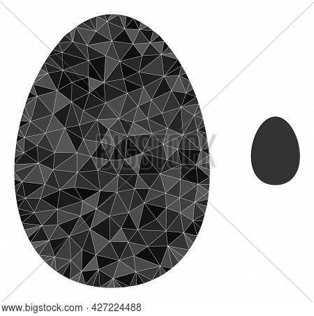 Triangle Egg Polygonal Icon Illustration. Egg Lowpoly Icon Is Filled With Triangles. Flat Filled Geo