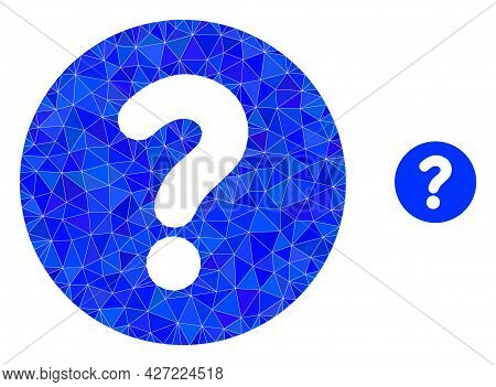 Triangle Query Polygonal Symbol Illustration. Query Lowpoly Icon Is Filled With Triangles. Flat Fill