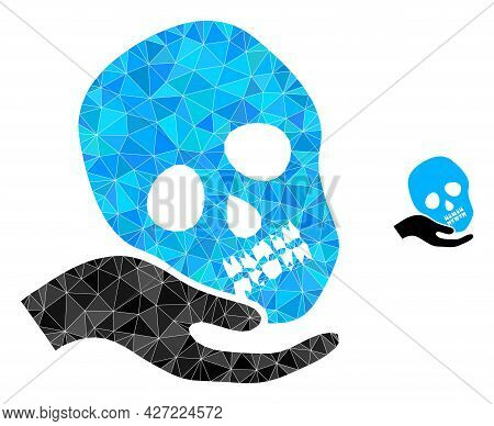 Triangle Hand Holds Skull Polygonal Icon Illustration. Hand Holds Skull Lowpoly Icon Is Filled With