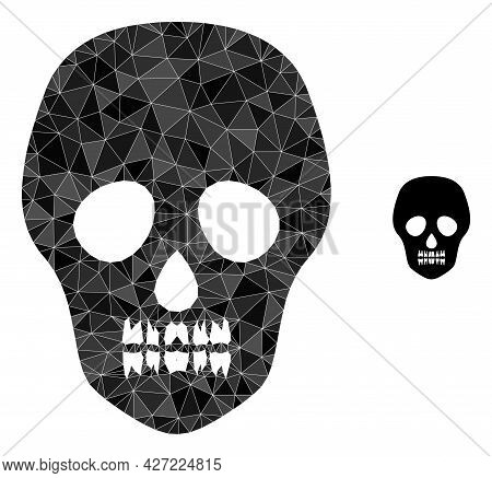 Triangle Skull Polygonal Icon Illustration. Skull Lowpoly Icon Is Filled With Triangles. Flat Filled