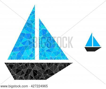 Triangle Yacht Polygonal Icon Illustration. Yacht Lowpoly Icon Is Filled With Triangles. Flat Filled