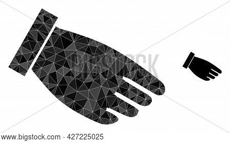 Triangle Hand Palm Polygonal Icon Illustration. Hand Palm Lowpoly Icon Is Filled With Triangles. Fla