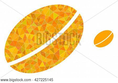 Triangle Wheet Seed Polygonal Symbol Illustration. Wheet Seed Lowpoly Icon Is Filled With Triangles.