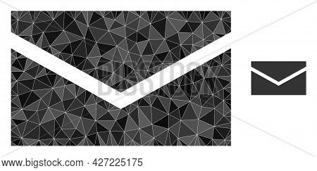 Triangle Mail Polygonal Icon Illustration. Mail Lowpoly Icon Is Filled With Triangles. Flat Filled G