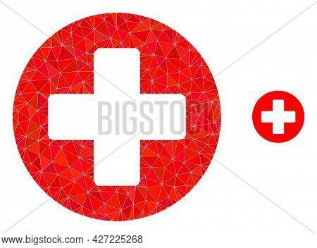 Triangle Healthcare Polygonal Icon Illustration. Healthcare Lowpoly Icon Is Filled With Triangles. F