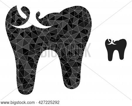 Triangle Tooth Caries Polygonal Icon Illustration. Tooth Caries Lowpoly Icon Is Filled With Triangle