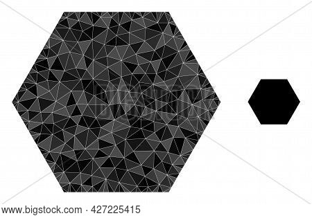 Triangle Hexagon Polygonal Symbol Illustration. Hexagon Lowpoly Icon Is Filled With Triangles. Flat