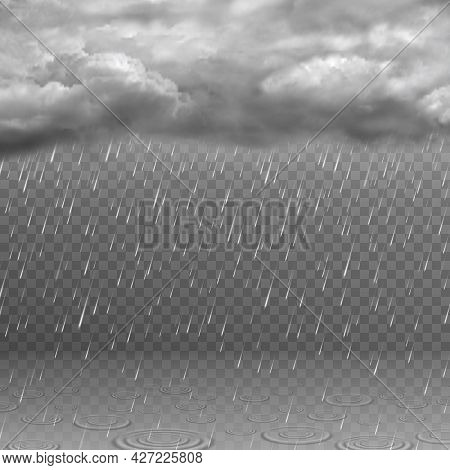 Realistic Rain Cloud. Dark Stormy Sky, Falling Water Drops, Clouds And Ripples In Puddles. Rainy Wea