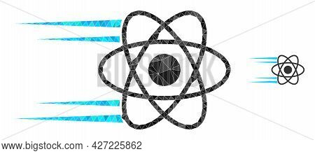 Triangle Rush Atom Polygonal Symbol Illustration. Rush Atom Lowpoly Icon Is Filled With Triangles. F
