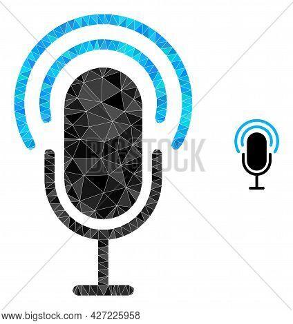 Triangle Microphone Polygonal Icon Illustration. Microphone Lowpoly Icon Is Filled With Triangles. F
