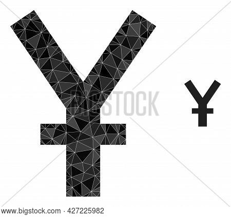 Triangle Yuan Currency Polygonal Icon Illustration. Yuan Currency Lowpoly Icon Is Filled With Triang