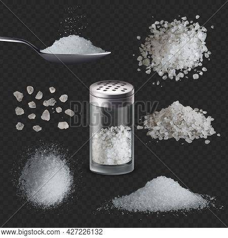 Realistic Salt. 3d White Salty Powder In Spoon. Sea Edible Rock Salt In Glass Shaker Bottle, Grains