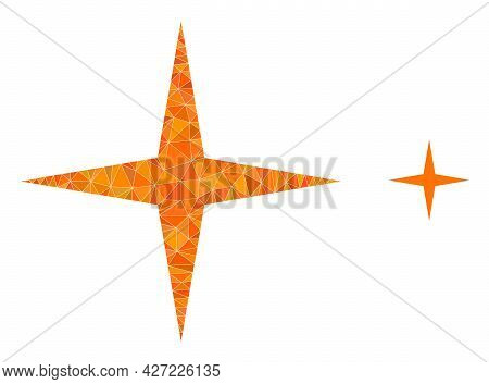 Triangle Space Star Polygonal Symbol Illustration. Space Star Lowpoly Icon Is Filled With Triangles.