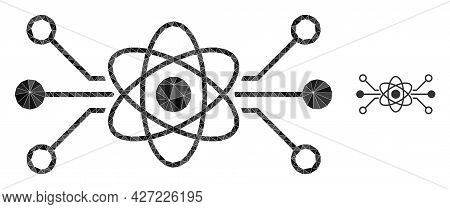 Triangle Quantum Circuit Polygonal Symbol Illustration. Quantum Circuit Lowpoly Icon Is Filled With