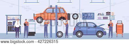 Car Repair Workshop. Auto Service Interior With Mechanic Workers, Lifted Cars And Customer. Automobi