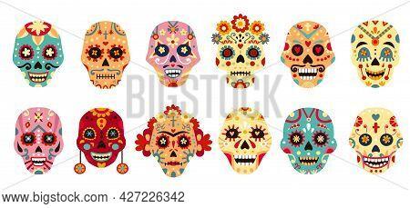 Dia De Los Muertos Skull. Mexican Day Of The Dead Decorative Man And Woman Sugar Skulls With Flower.