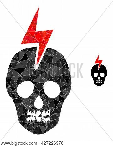 Triangle Mortal Electricity Polygonal Icon Illustration. Mortal Electricity Lowpoly Icon Is Filled W