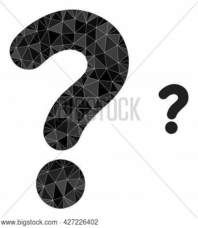 Triangle Question Mark Polygonal Icon Illustration. Question Mark Lowpoly Icon Is Filled With Triang